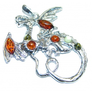 Dragon Multicolor Baltic Amber .925 Sterling Silver handcrafted Pendant