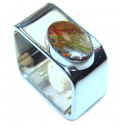Pure Energy Fire Genuine Canadian Ammolite .925 Sterling Silver handmade ring size 7