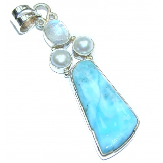 Authentic Caribbean great quality Larimar .925 Sterling Silver handmade pendant