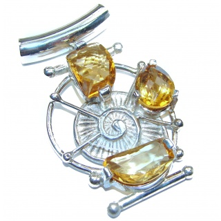 Sea World Genuine Citrine .925 Sterling Silver handmade Pendant