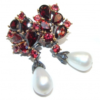 Spectacular Authentic Garnet Pearl Gold black rhodium over .925 Sterling Silver handmade earrings