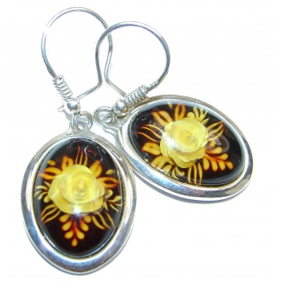 Back in time Genuine carved Baltic Polish Amber Sterling Silver handmade Earrings
