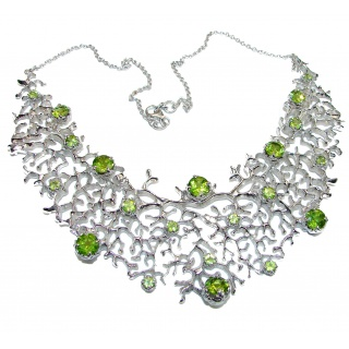Large Green Reef authentic Peridot .925 Sterling Silver handcrafted Statement necklace