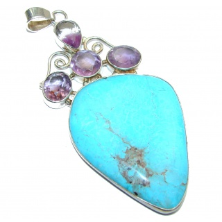Large Exquisite authentic Turquoise .925 Sterling Silver handmade Pendant