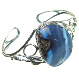 Norwegian Northern Lights genuine Boulder Opal handcrafted Sterling Silver Bracelet / Cuff
