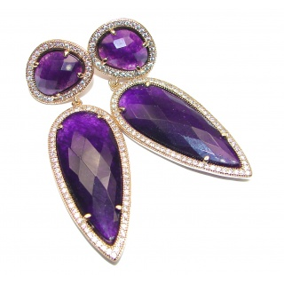 Huge Authentic faceted Purple Quartz 10K Gold over .925 Sterling Silver handmade earrings