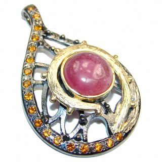 Large Genuine Ruby 18K Gold over .925 Sterling Silver handmade Pendant