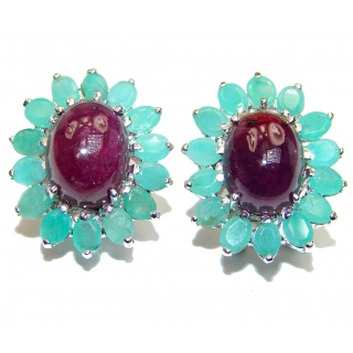 Trendy Fashion Ruby Emerald .925 Sterling Silver handmade studs earrings