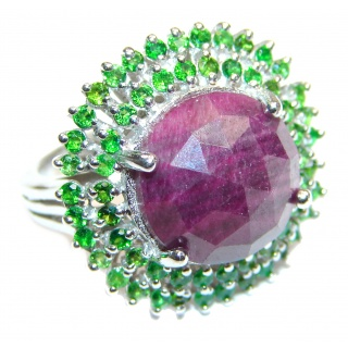 Genuine Ruby Emerald .925 Sterling Silver handmade Cocktail Ring s. 8