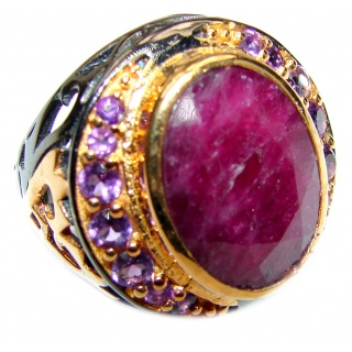 Vintage Beauty genuine Ruby 18K Gold over .925 Sterling Silver Statement handcrafted ring; s. 8