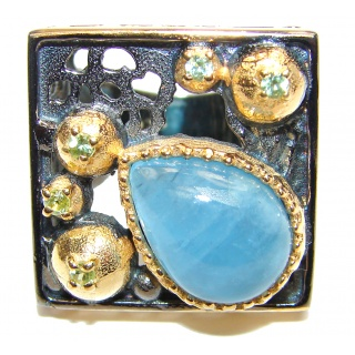 Vinatge Design Aquamarine 18K Gold over .925 Sterling Silver handmade ring s. 6 1/4