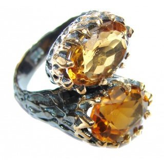 Vintage Style Natural Citrine 14K Gold over .925 Sterling Silver handcrafted Ring s. 6