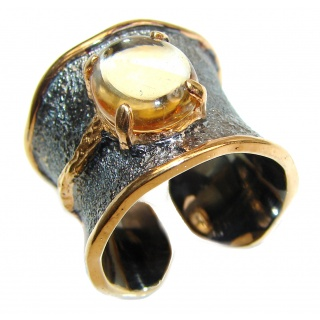 Vintage Style Natural Citrine 18K Gold over .925 Sterling Silver handcrafted Ring s. 8 adjustable