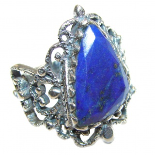 Natural Lapis Lazuli .925 Sterling Silver handcrafted ring size 6