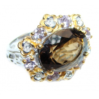 Champagne Smoky Topaz 14K Gold over .925 Sterling Silver Ring size 6 1/4