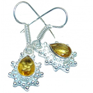 Vintage Style Authentic Citrine .925 Sterling Silver handmade earrings