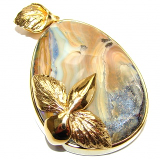 Pure Perfection Authentic Australian Boulder Opal 18K Gold over.925 Sterling Silver handmade Pendant