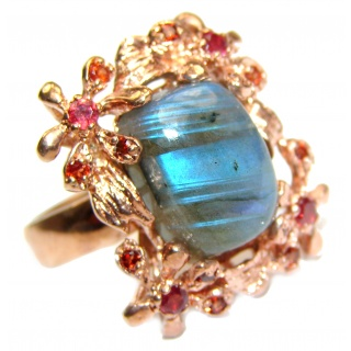 Large Fire Labradorite Rose Gold over .925 Sterling Silver Bali handmade ring size 9