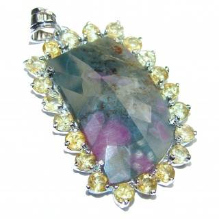 Ruby in Zoisite .925 Sterling Silver handcrafted Pendant