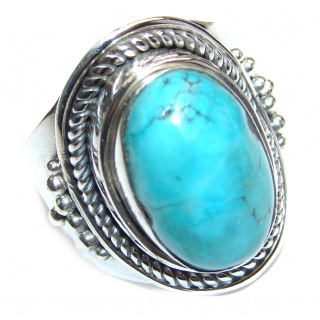 Huge Turquoise .925 Sterling Silver handcrafted ring; s. 10