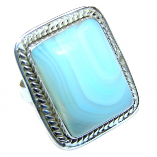 Blue Chalcedony Agate .925 Sterling Silver handcrafted Ring s. 11