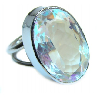 Mysterious Rainbow Quartz Sterling Silver handmad ring s. 8 1/4