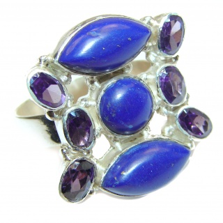 Natural Lapis Lazuli .925 Sterling Silver handcrafted ring size 9