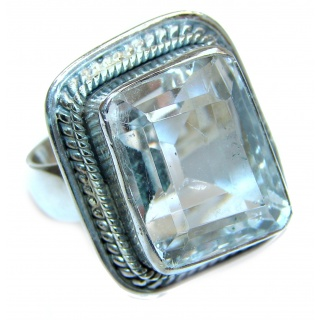 Large Victorian Style White Topaz Sterling Silver ring; s. 8 1/4