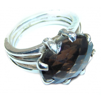 Champagne Smoky Topaz 14K Gold over .925 Sterling Silver Ring size 7 3/4