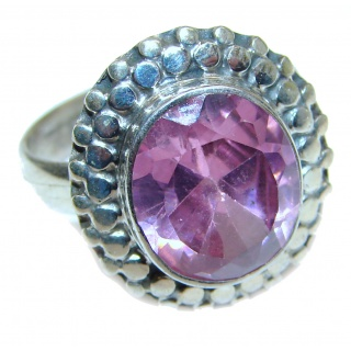 Spectacular Pink Amethyst .925 Sterling Silver handcrafted Ring size 7