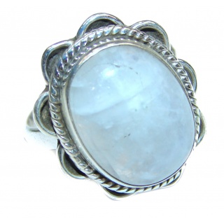 Energizing Moonstone .925 Sterling Silver handmade Poison Ring size 6