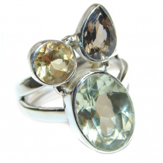 Spectacular Natural Green Amethyst .925 Sterling Silver handcrafted ring size 9