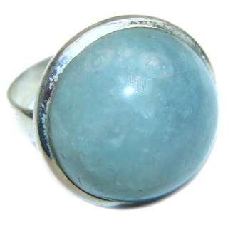 Design Blue Aquamarine .925 Sterling Silver handmade ring s. 9 3/4