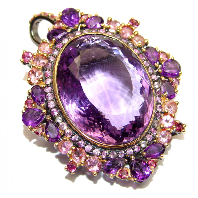 Vintage Design Pink Amethyst Black Rhodium .925 Sterling Silver handcrafted Pendant & Pin