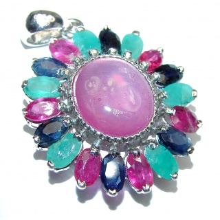 Genuine Ruby Emerald Sapphire .925 Sterling Silver handmade Pendant