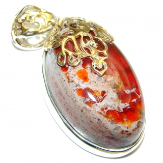 Unique Design Natural Mexican Fire Opal 14K Gold .925 Sterling Silver handmade Pendant