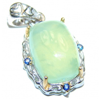 Pure Perfection Natural Moss Prehnite 18ct Gold over .925 Sterling Silver handmade Pendant