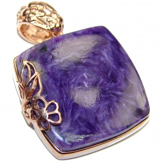 Unique genuine Siberian Charoite 18K Gold over .925 Sterling Silver handmade Pendant