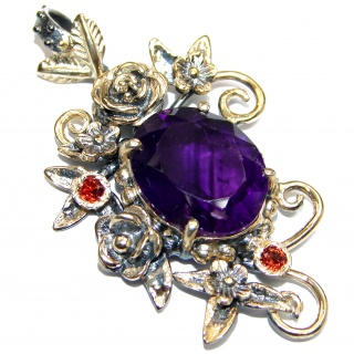 Purple Moon Genuine Amethyst 14k Gold.925 Sterling Silver handcrafted pendant