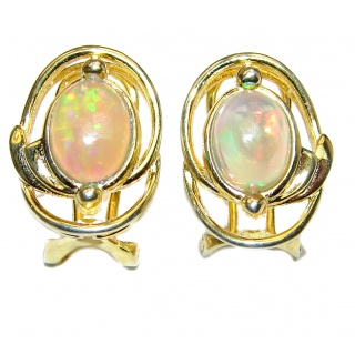 Classy genuine Ethiopian Opal 18K Gold .925 Sterling Silver handmade earrings