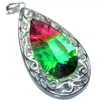 Deluxe Red Green Pear cut Watermelon Tourmaline pendant .925 Sterling Silver handmade Pendant