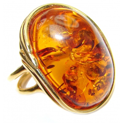 Huge Authentic Baltic Amber 14K Gold .925 Sterling Silver handcrafted ring; s. 8 adjustable