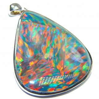 Unique Design Natural Triplet Opal .925 Sterling Silver handmade Pendant