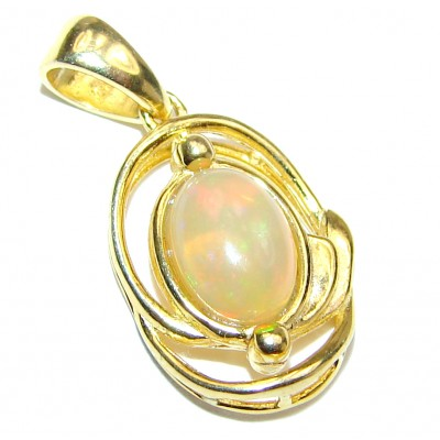 Unique Design Natural Ethiopian Opal 18K Gold .925 Sterling Silver handmade Pendant