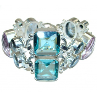 Large Statement multicolor Quartz .925 Sterling Silver Bracelet