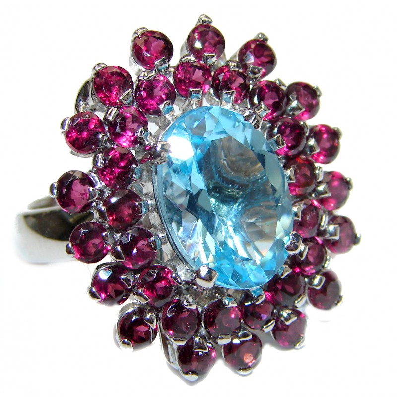 Genuine 18ctw Swiss Blue Topaz Tourmaline .925 Sterling Silver handcrafted Statement Ring size 7 3/4