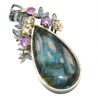 Blue Fire Labradorite 14K Gold over .925 Sterling Silver handcrafted Pendant