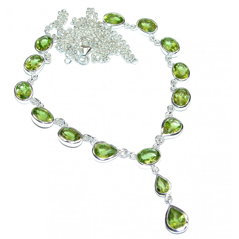 Sublime Authentic Peridot .925 Sterling Silver Necklace