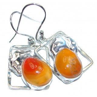 Orange Mexican Fire Opal hammered Sterling Silver handmade earrings