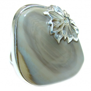 Genuine Imperial Jasper .925 Sterling Silver handcrafted ring s. 7 adjustable